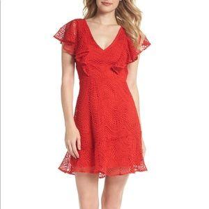 CHELSEA28 | sz L red crochet flutter sleeve dress